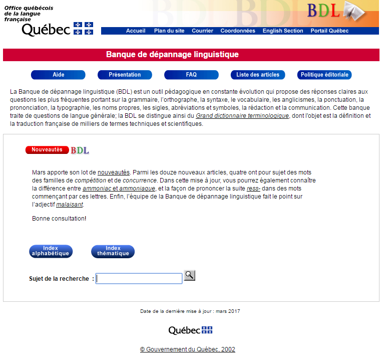 Biblioth que num rique sur le web - Office de la langue francaise dictionnaire ...